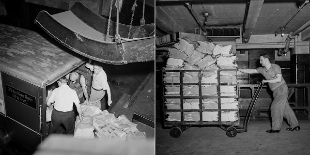 (Left) Papers are loaded onto a truck for distribution. (Right) Bundles of finished papers are prepared for delivery.