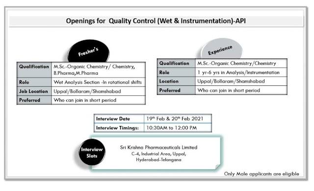 Sri Krishna Pharma | Walk-in for Freshers and experienced in QC on 19th & 20th Feb 2021