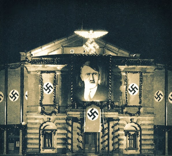Bayreuth: The Festspielhaus decorated and illuminated to celebrate Hitler's birthday: April 20, 1939