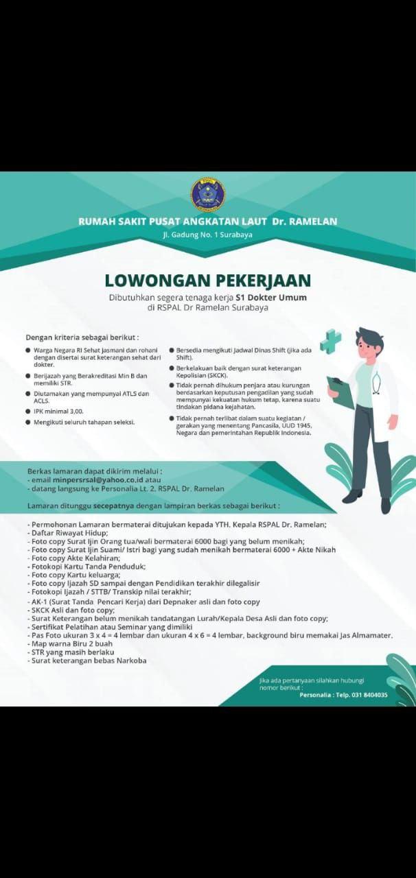Loker Dokter Rumah Sakit Pusat Angkatan Laut Dr. Ramelan Surabaya