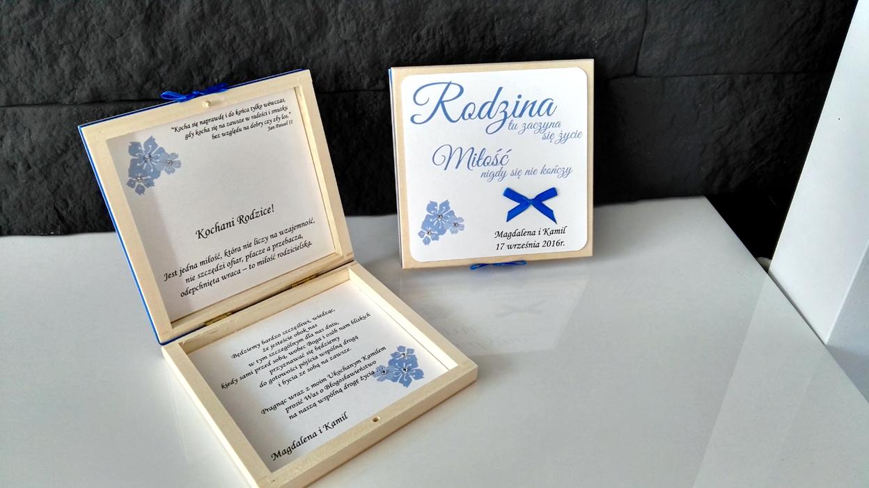 Papierowe Marzenia Zaproszenia ślubne Pudełeczko Z Prośbą O
