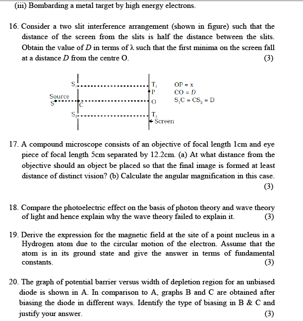 CBSE Sample paper class 12 Physics