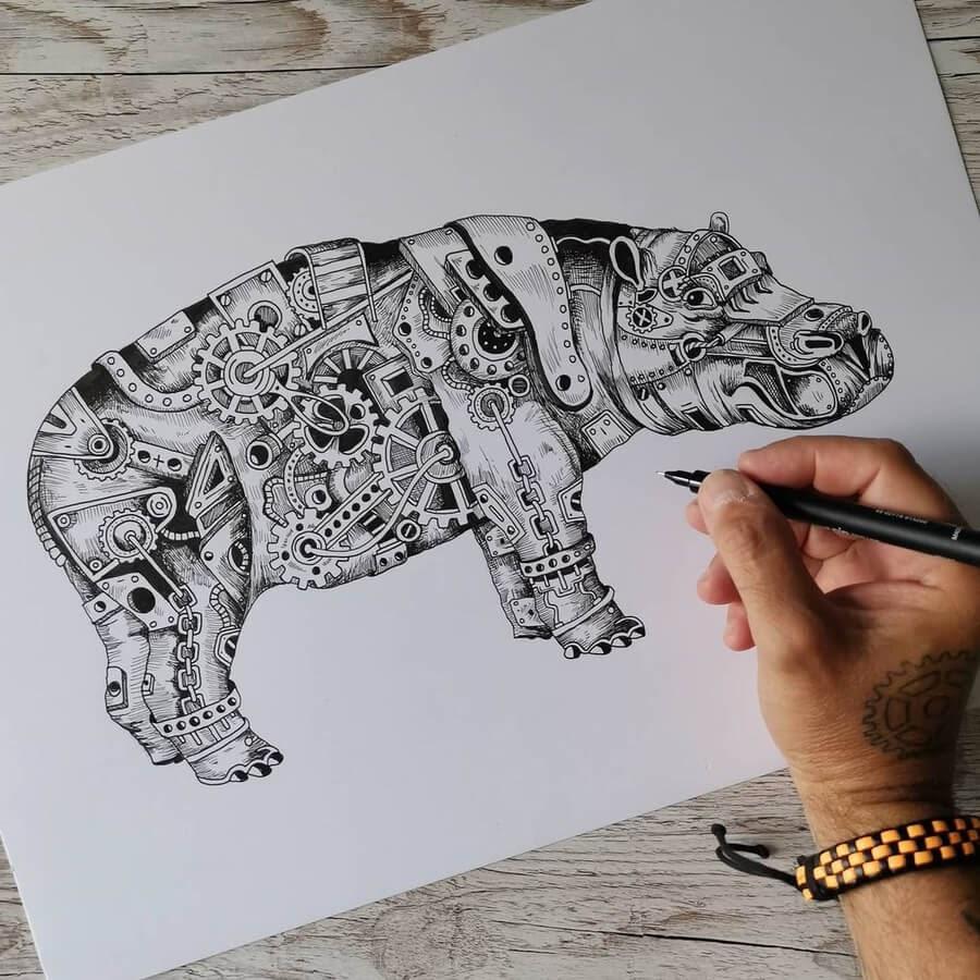 01-Hippo-Hippopotamus-Steampunk-Steve-Turner-www-designstack-co