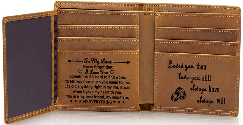 personalized leather wallet gift