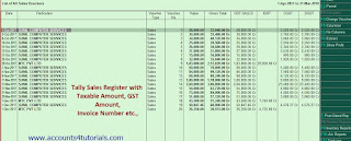 Tally Sales Register with   Taxable Amount, GST Amount,  Invoice Number etc.,