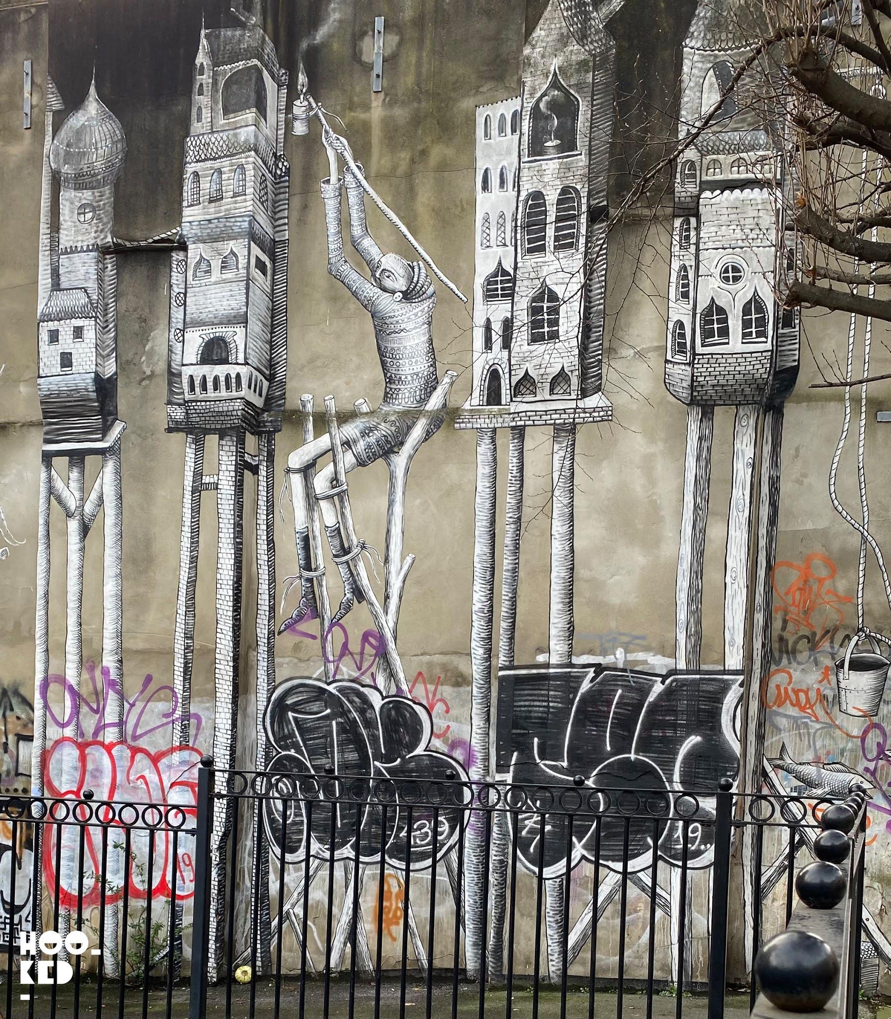 London Street Art- Phlegm's London Mural on Heneage Street