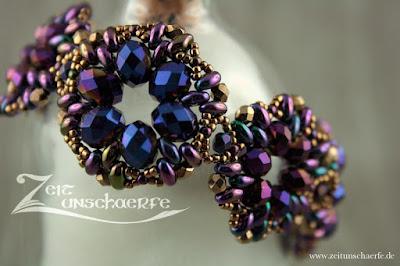 geperltes Armband LàFainne in violett und gold by Zeitunschaerfe.de