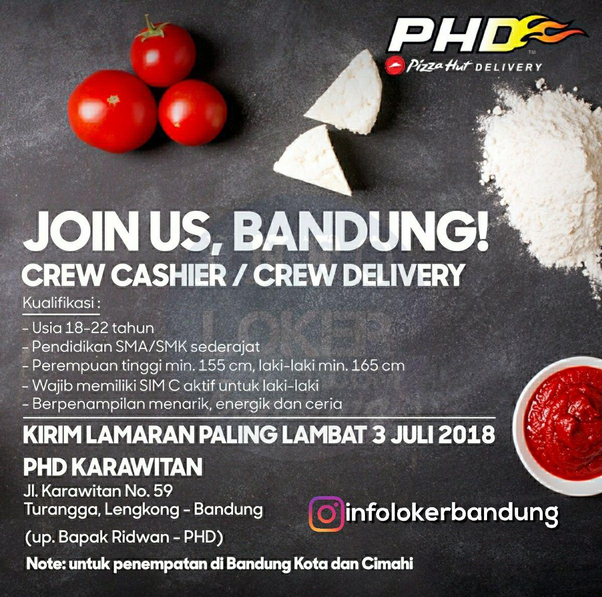 Lowongan Kerja PHD ( Pizza Hut Delivery ) Karawitan Bandung Juli 2018 - infolokerbandung.com