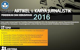 Lomba Artikel Dan Karya Jurnalistik Pendidikan Dan Kebudayan Tahun 2016