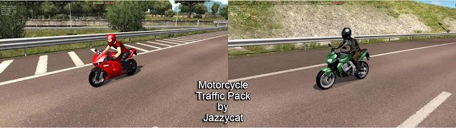 ats motorcycle traffic pack v3.1 by jazzycat screenshot, new motorcycles, Ducati Desmosedici RR, Kawasaki Z750
