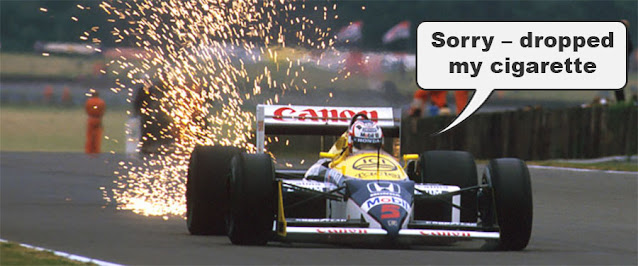 "Sparks flying off an F1 car. Driver saying ""sorry, I dropped my cigarette"""