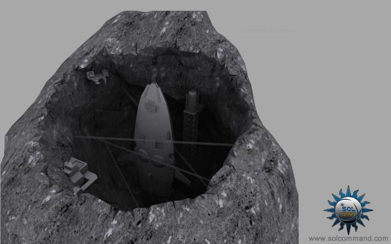 Sleeper ship dock asteroid construction hangar scifi 3d model free download generation ship oltenia repair yard