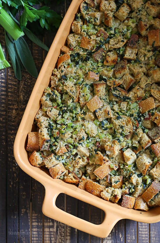 Whole wheat stuffing made with celery, onions, parsley and bacon.