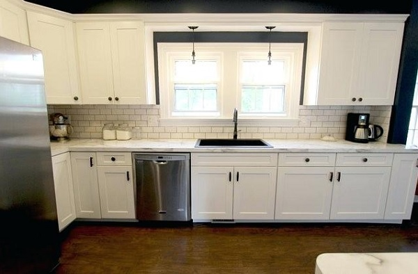 laminate countertops for white cabinets with white tile