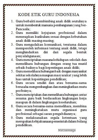 Kode Eti Guru Republik Indonesia