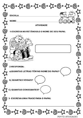 Atividade dia dos pais  educação infantil para imprimir e colorir grátis
