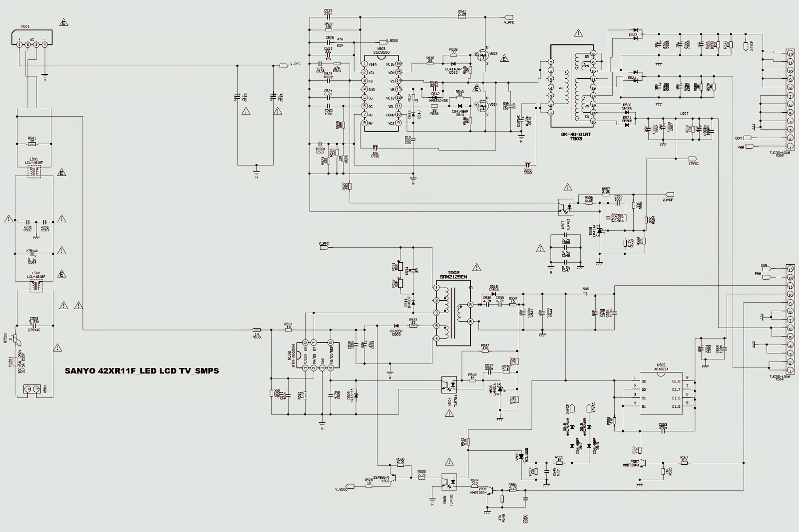 Sanyo 46xr11f And Sanyo 46xr113d Smps Schematic Circuit