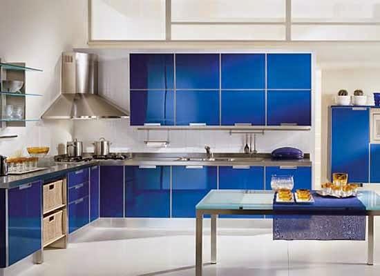 Ini 12 Gambar Desain Dapur Minimalis Warna Biru