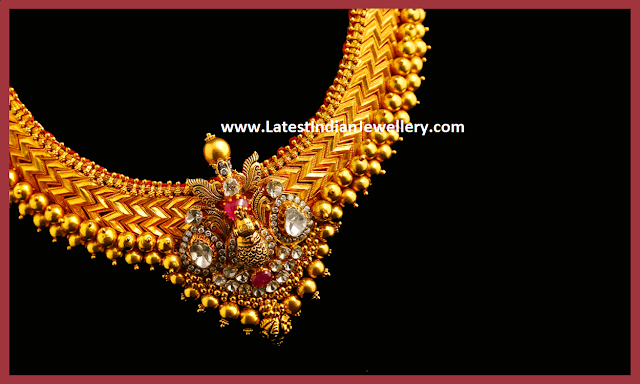 Peacock Design Addigai Necklace