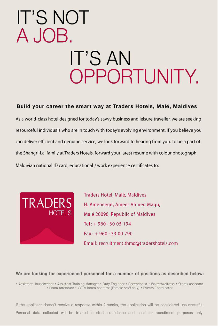 Hospitality Job Recruitment Job Maldives Opportunities At Traders Hotel Male