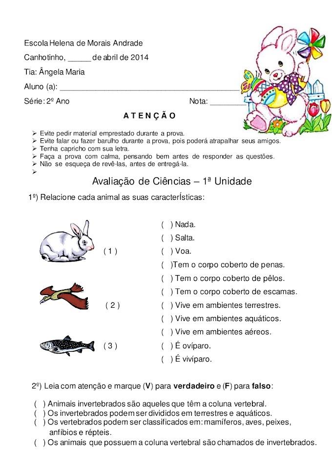 PROVA DE CIÊNCIAS 2 ANO FUNDAMENTAL ANIMAIS.