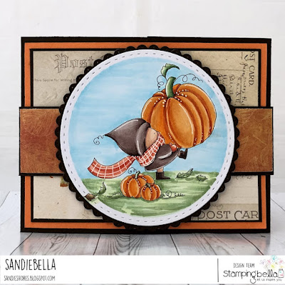 www.stampingbella.com: rubber stamp used; BUNDLE GIRL at the pumpkin patch card by Sandie Dunne
