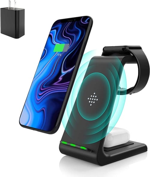 Muleug 3 in 1 Wireless Charger Charging Station Dock