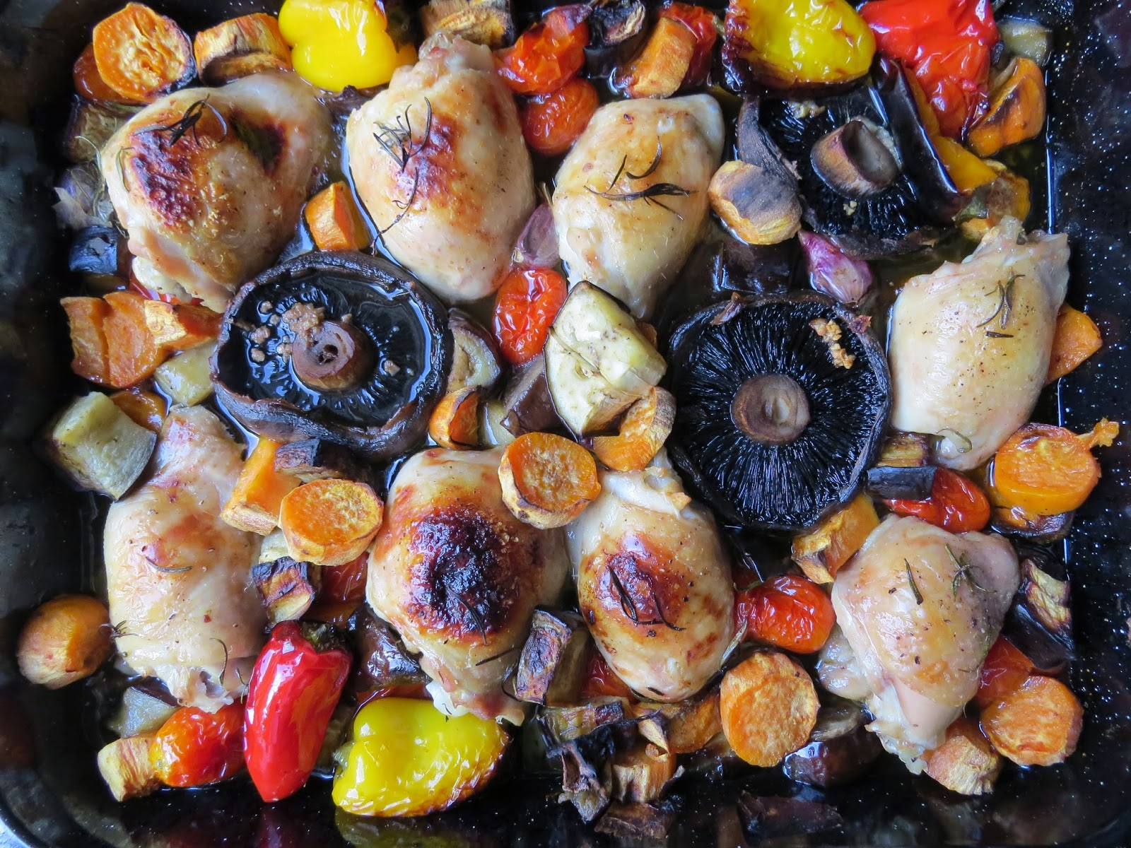 Chicken Thighs Traybake Roasted Vegetables