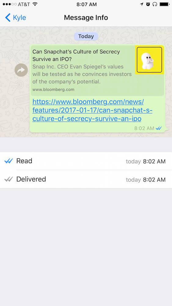 تفاصيل رسائل واتس اب WhatsApp