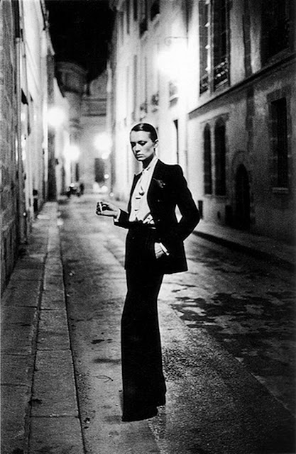 YSL Le Smoking tuxedo photographed by Helmut Newton, 1966