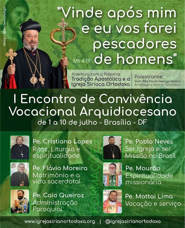 I Encontro de Convivência Vocacional Arquidiocesano - de 01 a 10 d junho/21 em Brasília - DF