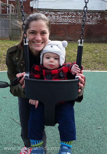 Harold and Mommy, swings, playground, baby, 8 month old baby