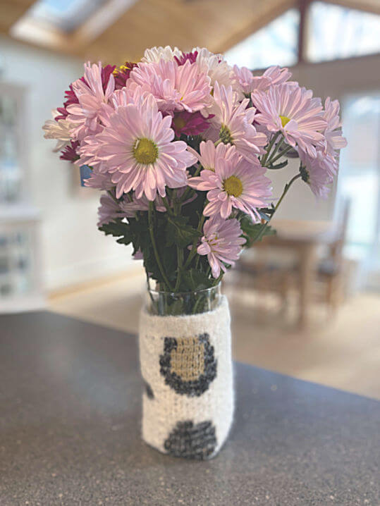sweater vase cover with flowers