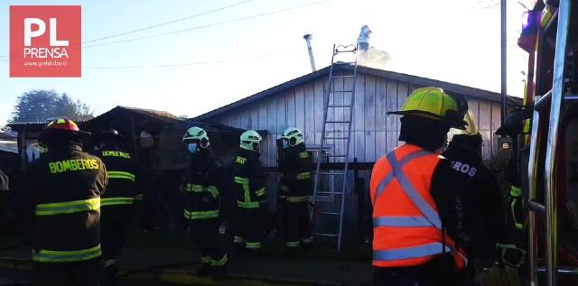 Osorno: incendio afecta a modesta vivienda de Rahue
