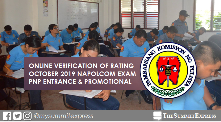 Online verification of rating: October 2019 NAPOLCOM exam