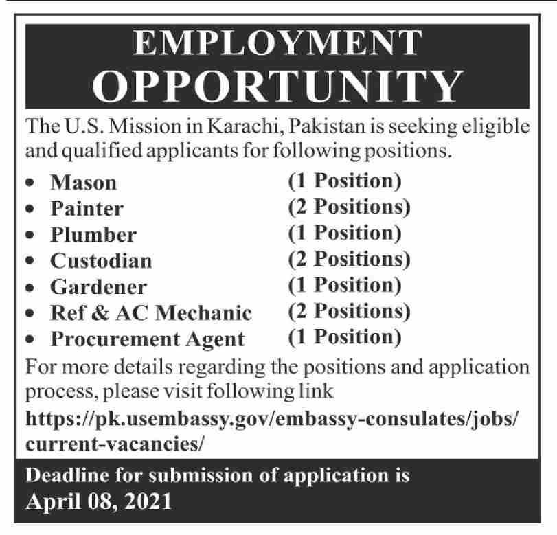US Embassy Jobs 2021 in Karachi