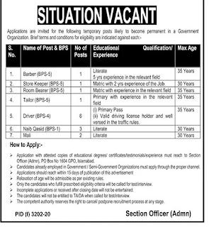 P.O Box No. 1604 Islamabad Jobs 2020, Government Organization Advertisement