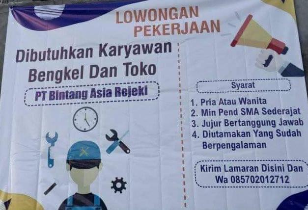 Lowongan Kerja Karyawan Bengkel Dan TOko PT Bintang Asia Rejeki Rembang