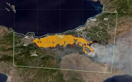 «Κοπέρνικος»: Η ζώνη κινδύνου και τα μέτωπα της πυρκαγιάς από δορυφόρο