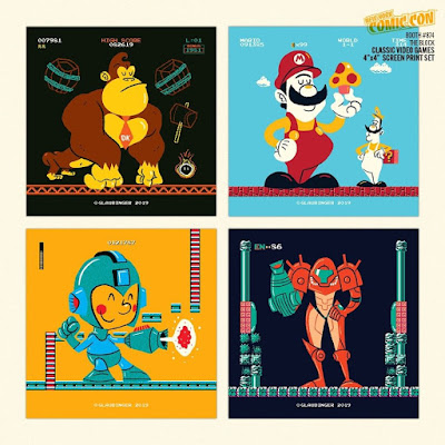 "New York Comic Con 2019 Exclusive Classic Video Games 4""x4"" Screen Print Set by Ian Glaubinger"