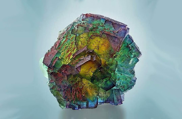 Rainbow fluorite from Saxony, Germany