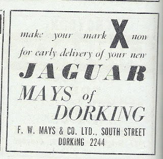 F W May Jaguar advert from Autocar 18 October 1963