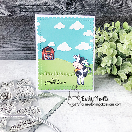 You're moo-velous! by Becky features Moo, Land Borders, Frames & Flags, and Cloudy Sky by Newton's Nook Designs; #newtonsnook
