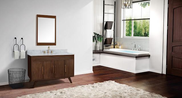 Sleek, mid-century modern styling in this Avanity vanity.