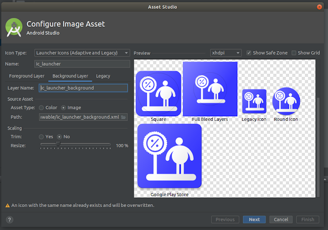Android Studio - Background Layer Tab