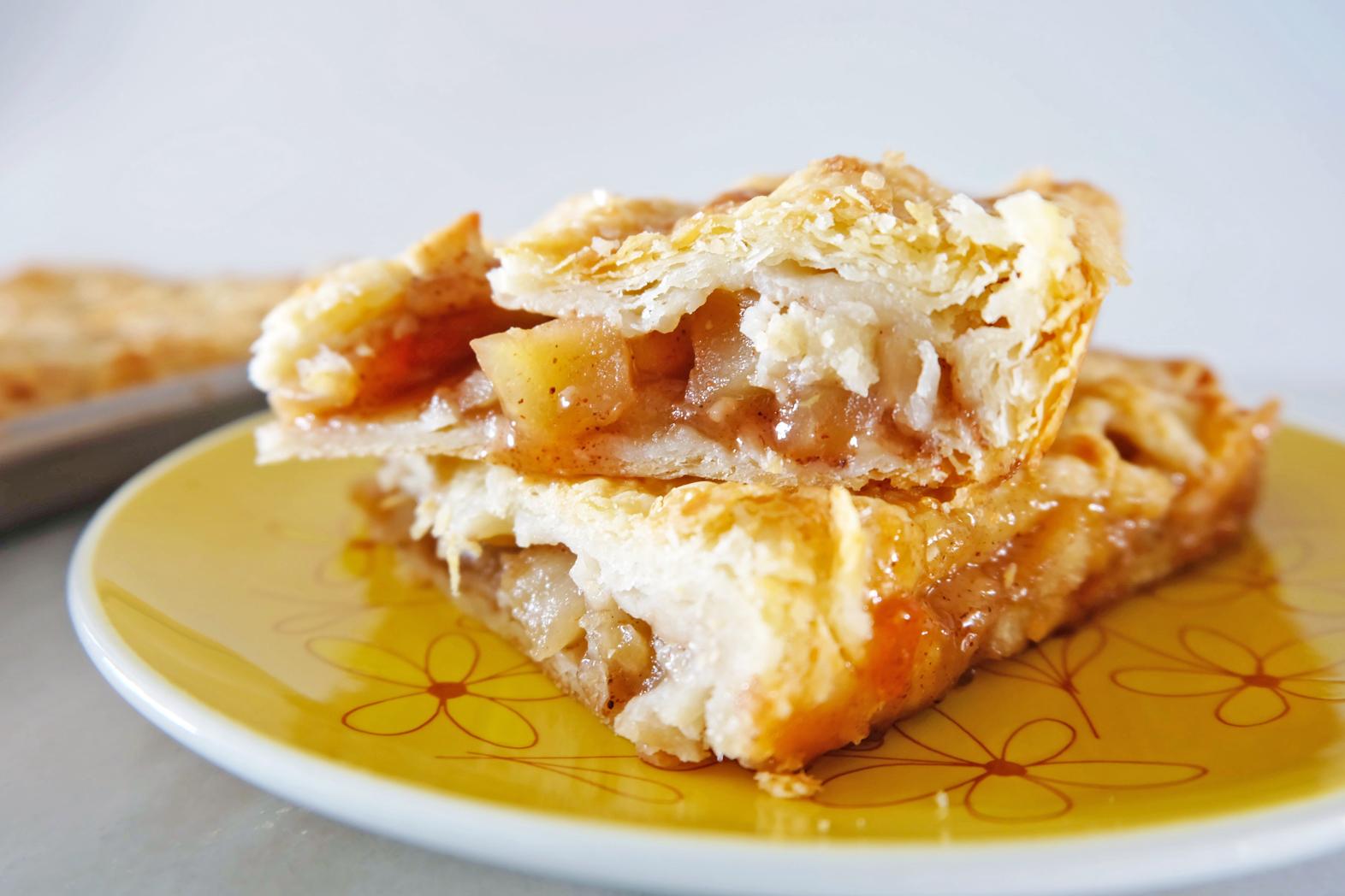 slices of apple slab pie with buttermilk crust