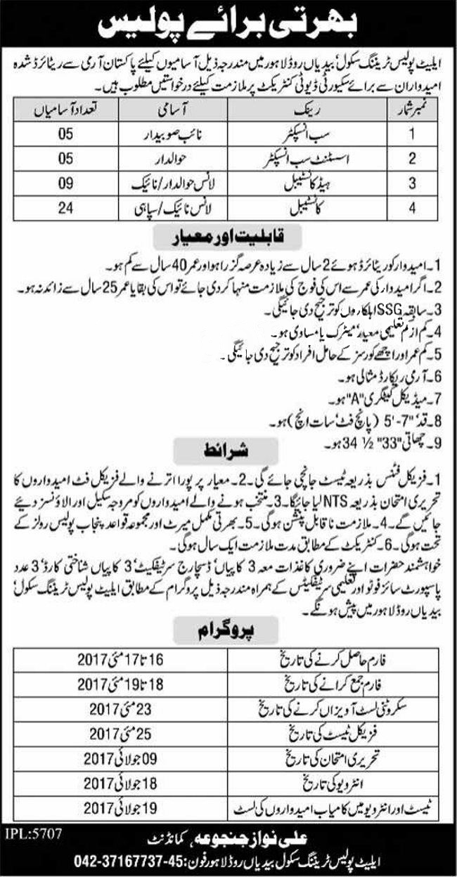 elite police training school bedian road lahore Inspector jobs May 2017