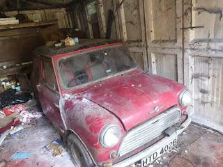 BarnFind Mini Cooper Inside Old Garage
