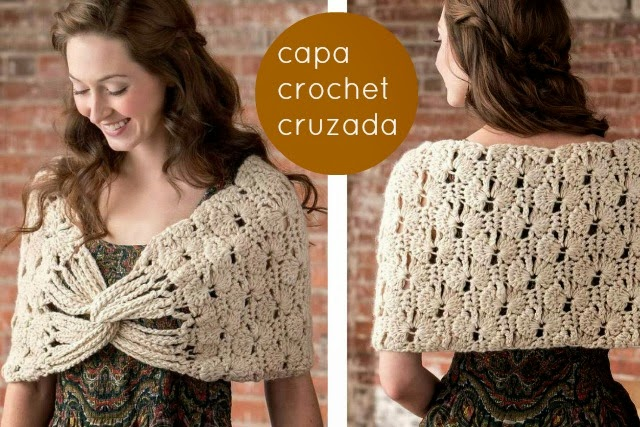 capa, cruzada, crochet, patrones