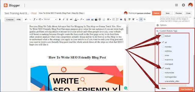 Custom Robots Tags In Blogger